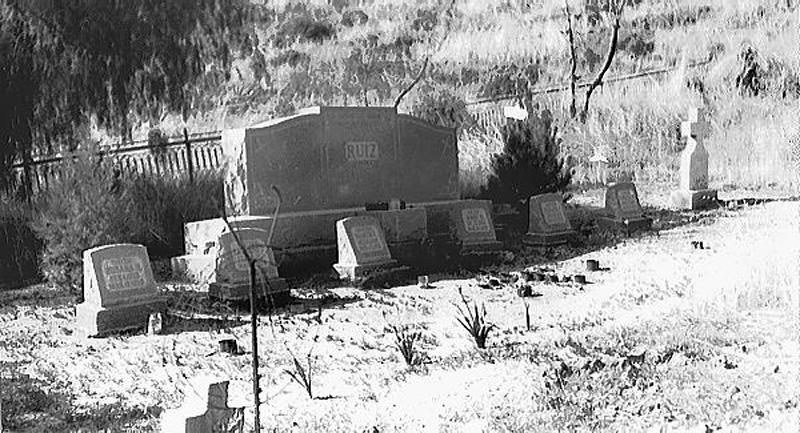 Ruiz Family Grave Markers. RUIZ CEMETERY, SAN FRANCISQUITO CANYON. Photos of the St. Francis Dam disaster.