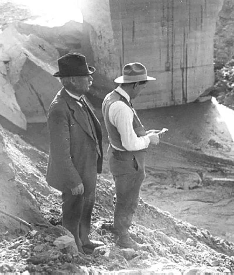William Mulholland. INSPECTING ST. FRANCIS DAM FAILURE. Photos of the St. Francis Dam disaster.