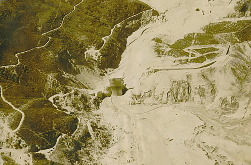 Aerial View of St. Francis Dam Failure SAN FRANCISQUITO CANYON