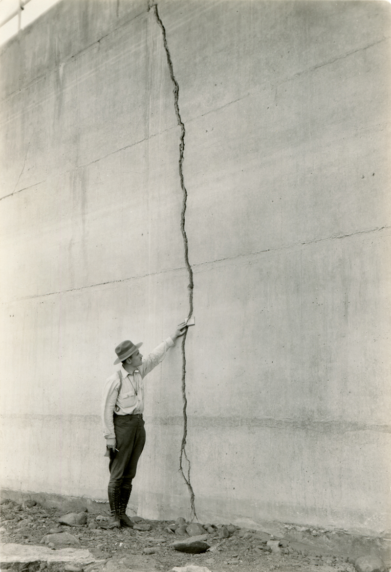 Crack in Wing Dike After Break. EX-SAN FRANCISCO PUBLIC UTILITIES COMMISSION ARCHIVES. Photos of the St. Francis Dam disaster.