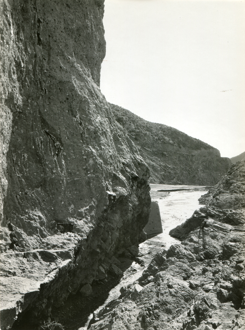 Gulley Carved by Evacuating Water. EX-SAN FRANCISCO PUBLIC UTILITIES COMMISSION ARCHIVES. Photos of the St. Francis Dam disaster.