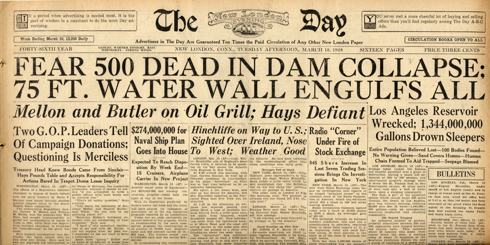 Newspapers of the St. Francis Dam Disaster.  New London Evening Day (newspaper), New London, Connecticut.  Tuesday, March 13, 1928