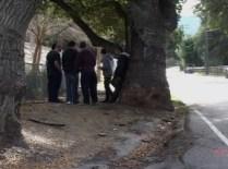 Friends gather at the crash site where Dakota Demott was killed.