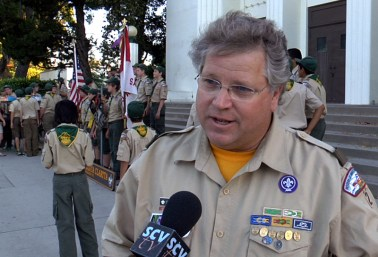 Scoutmaster Steven Rodgers at the 90th Anniversary celebration
