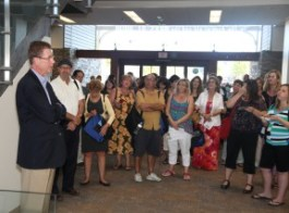 File photo: City  Librarian Ed Kieczykowski (left) addresses local educators at the new library.