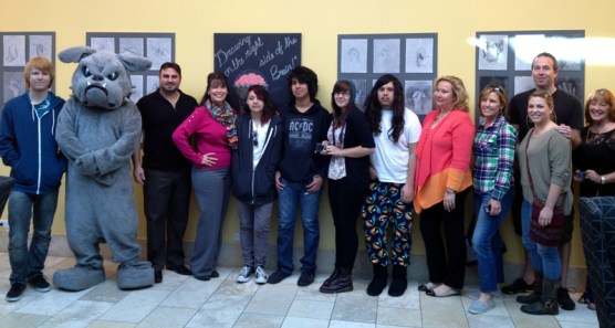 """Bowman students with their exhibit, """"The Left Brain: Art from Bowman High"""""""