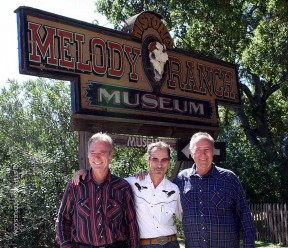 Renaud and Andre Veluzat welcome the writer to the Melody Ranch Museum in April 2010. Photo by Tom White.