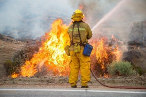 Monday on the fire line | Photo: L.A. County Fire Dept.
