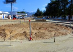 Newhall roundabout under construction this month. Click image for more. (SCVTV)