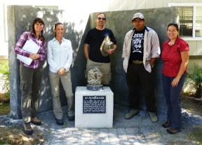 """""""Forgotten Casualties"""" team members at the dam memorial at the Angeles National Forest Fire Station. From left, Krystal Kissinger, Julee Licon, James E. Snead, Efren Martinez and Ann Stansell. Photo courtesy of James E. Snead/CSUN."""