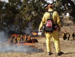 Firefighters conduct a training exercise at the Del Valle facility. File photo: KHTS.
