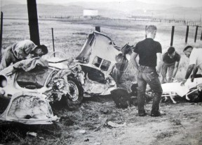 James Dean's fatal crash scene outside of Cholame, 1955.