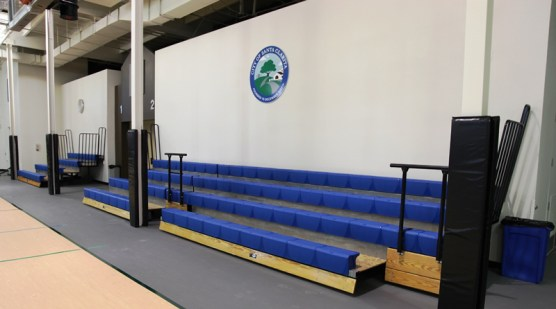Sports Complex Gym Remodel20140117_2 (1) New bleachers (above) and safety pads (below) were part of the remodel.