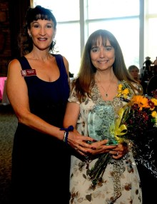 Zontian Christine Sexton (left) presents the Carmen Sarro Award to last year's winner, Pam Ripling. Christine is Sarro's daughter.
