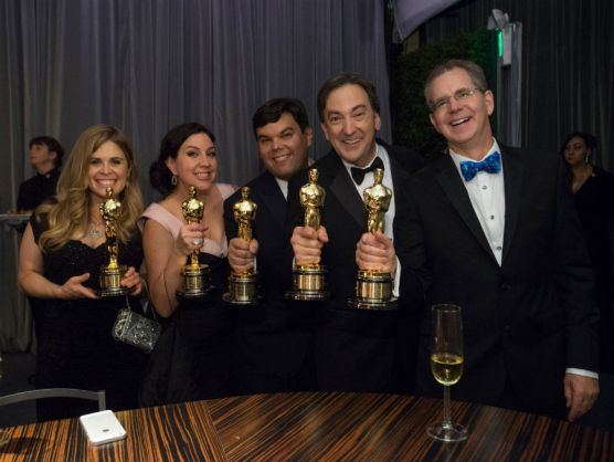 Oscar winners Jennifer Lee, Kristen Anderson-Lopez, Robert Lopez, Peter Del Vecho and CalArts alum Chris Buck at the Oscar engraving station | Photo: Greg Harbaugh-AMPAS