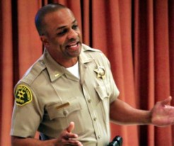 Capt. Roosevelt Johnson took the helm of the SCV Sheriff's Station Sunday. Photo: Altadena Online (Altadenablog.com)
