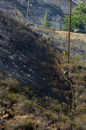 The fire ignited on this hill behind LADWP Powerhouse No. 1 in San Francisquito Canyon. Photo 5-30-2013 by Jessica Boyer/KHTS.