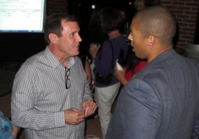 Assemblyman Scott Wilk talks to a supporter during his election night party Tuesday at the Canyon Theatre Guild. Photo: Leon Worden.