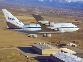 NASA's SOFIA infrared observatory - a modified 747 that cruises at 45,000 feet - overflies its home in Palmdale.