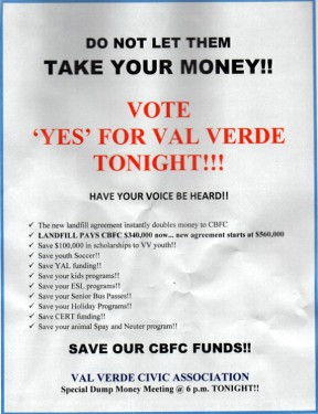 Flier generated by/on behalf of the landfill company and distributed throughout Val Verde. The public saw through the ruse.