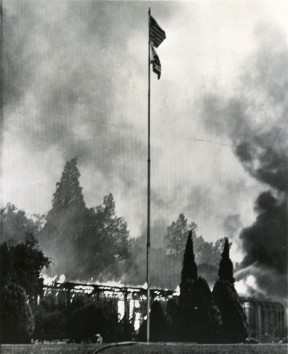The fire that destroyed Melody Ranch in 1962 also burned through the hills and took out the administration building at Olive View Sanitarium. Click image for more.