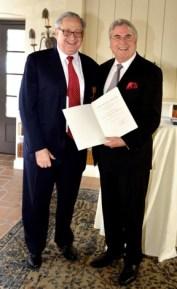 CalArts President Steven D. Lavine (left) and German Consul General Dr. Bernd Fischer at the awarding of the Order of Merit on Nov. 6.