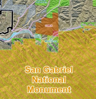 The Cemex property abuts the newly designated San Gabriel Mountains National Monument.