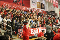 """The new Matadome seats will be added above the """"Stand with the Matadors"""" banner. Photo credit: CSUN Athletics"""