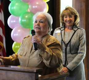 Kathleen Sturkey, executive director of the Los Angeles Retarded Citizens Foundation (LARC Ranch) thanks members of Soroptimist International of Greater SCV for a cash grant at the recent awards luncheon as the club president, Pam Ingram, looks on. Photo by Michele E. Buttelman.