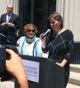 Lead plaintiff Christy O'Donnell of Santa Clarita participates in a post-hearing news conference in San Diego. (Photo: Compassion & Choices)
