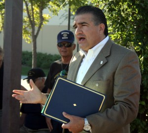 Councilman Dante Acosta (foreground); Background: Duane Harte, Chair, SCV Veterans Memorial Committee.