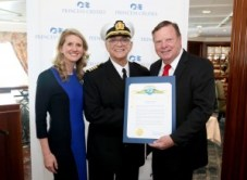 "Jan Swartz, Gavin MacLeod and Bob Kellar, City of Santa Clarita Mayor Pro Tem, celebrate Princess Cruises' 50th anniversary, the County of Los Angeles and the City of Santa Clarita, hometown of Princess Cruises world headquarters, declared Dec 3 ""Princess Cruises Day"" on Thurs., Dec. 3, 2015, in San Pedro, Calif. (Photo by Casey Rodgers/Invision for Princess Cruises/AP Images)"