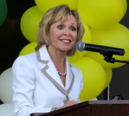 Superintendent Vicki Engbrecht speaks at the unveiling of the performing arts center last month.