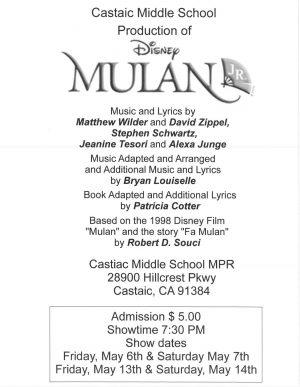 CUSD - CMS Production of Disney's Mulan