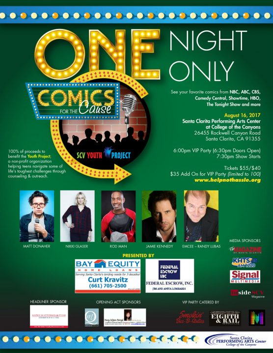 5th Annual Comics for a Cause SCV Youth Project flyer