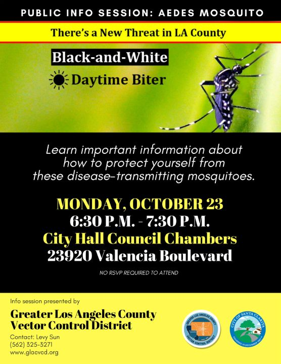 Aedes Mosquito Info Session flyer
