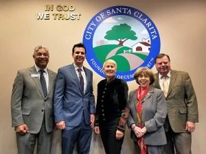 Santa Clarita Mayor Laurene Weste (center) with Councilmen Bill Miranda and Cameron Smyth, Mayor Pro-Tem Marsha McLean and Councilman Bob Kellar. | Photo: Stephen K. Peeples