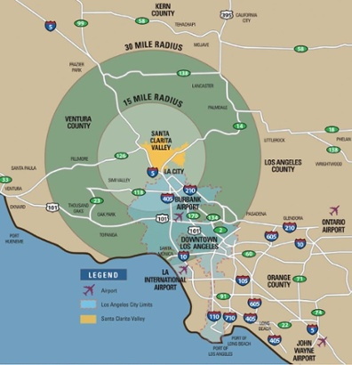 Santa Clarita Valley 30-mile radius map
