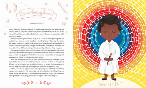 Pages from 'Little Leaders: Bold Women in Black History' buy CalArts alum Vashti Harrison