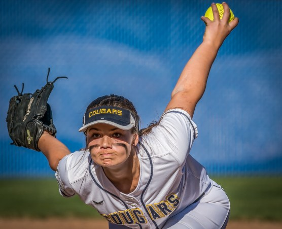 College of the Canyons relief pitcher Megan Wilson delivers a pitch during the third inning Thursday, February 8, 2018 at College of the Canyons. | Photo: Kevin Karzin