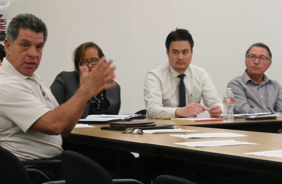 Jose Diaz, Amalia Marreh, James Chow and Hassan Amini at the Whittaker-Bermite public hearing at City Hall on March 7, 2018. Photo: Stephen K. Peeples.