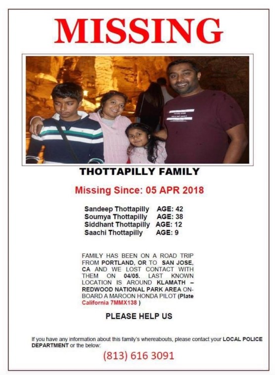 Thottapilly family -- missing persons flyer