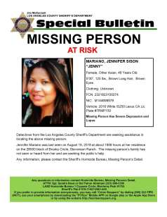 Jennifer Sison Mariano went missing from her Stevenson Ranch Home on Sunday, Aug. 19, 2018.