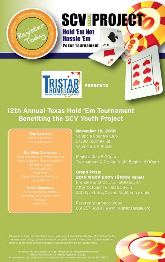 Poker Tourney Benefiting SCV Youth Project