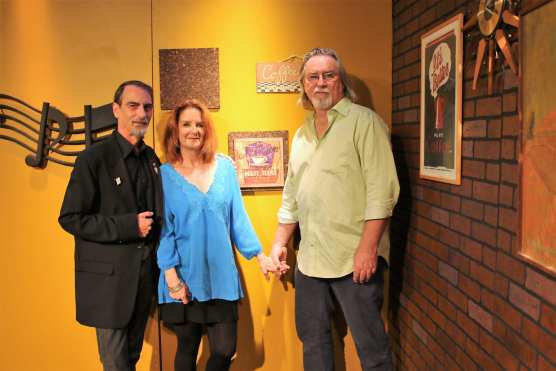 """Teresa James and Terry Wilson with Stephen K. Peeples on the set of """"House Blend,"""" Oct. 18, 2014."""
