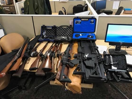 Weapons seized in November 2018 after the arrest of Ignacio Jesus Adame in Neenach. | Photo: LASD.