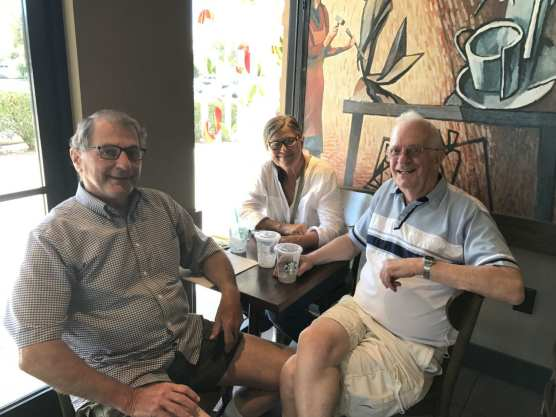 adventures-Robert Geiman (left) and Carl Boyer (right) meet at Starbuck's in Newhall to plan their next trip, aided and abetted by longtime friend Judy Belue, former director of development for the Boys & Girls Club of the Sanmta Clarita Valley.