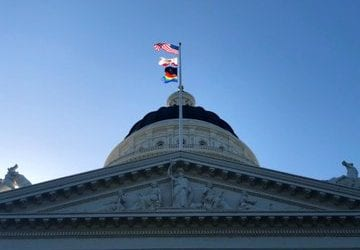 rainbow flag california capitol building