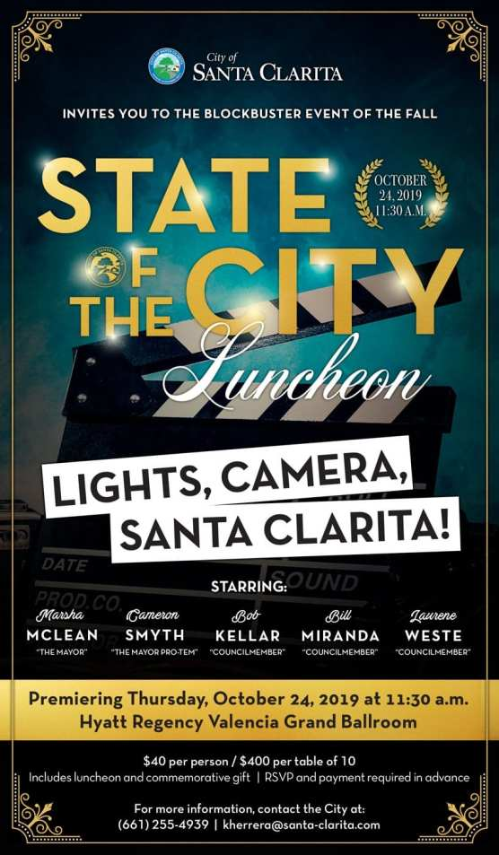 2019 santa clarita state of the city luncheon flyer