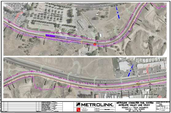 Proposed Metrolink Antelope Valley Line Canyon-Santa Clarita double-tracking and platform expansion, part of Scenario 3 of the AVL Line Study approved by the Metro Board July 25.